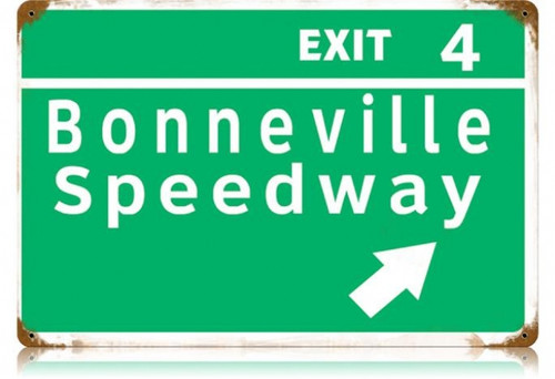 Retro Bonneville Speedway Metal Sign  18 x 12 Inches