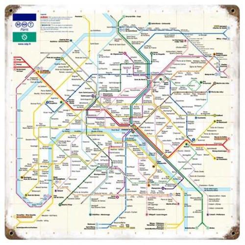 Vintage-Retro Paris Metro Metal-Tin Sign