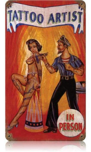 Vintage Tattoo Artist  - Pin-Up Girl Metal Sign 8 x 14 Inches