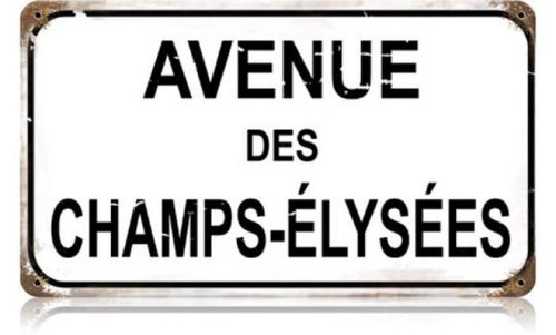 Vintage-Retro Champs Elysees Metal-Tin Sign