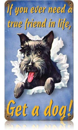Retro Get A Dog Metal Sign   8 x 14 Inches