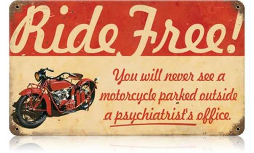 Vintage-Retro Ride Free Motorcycle Metal-Tin Sign