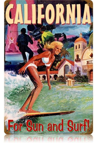 Vintage California Surfer Metal Sign 12 x 18 Inches
