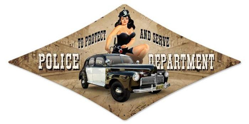 Vintage Police Department Diamond  - Pin-Up Girl Metal Sign 14 x 24 Inches
