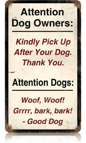 Vintage-Retro Attention Dogs Metal-Tin Sign