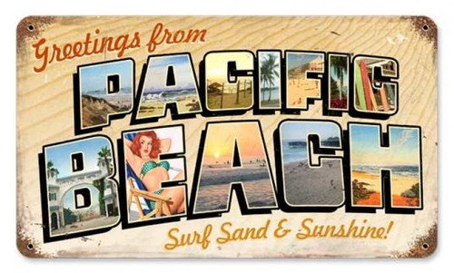 Vintage-Retro Pacific Beach Postcard Metal-Tin Sign