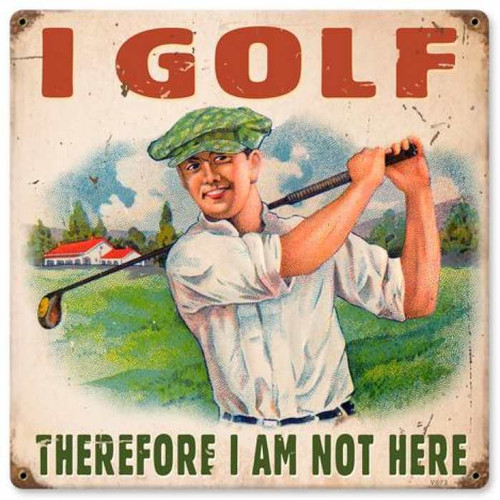 Vintage I Golf Metal Sign   12 x 12 Inches