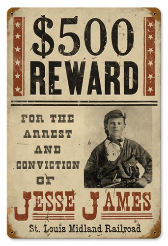 Vintage-Retro Wanted Jesse James Metal-Tin Sign