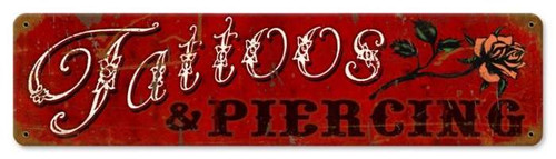 Retro Tattoos Piercing Metal Sign 20 x 5 Inches