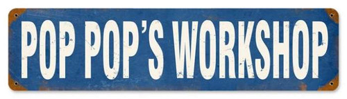 Retro Pop Pop's Workshop Metal Sign 5 x 20 Inches