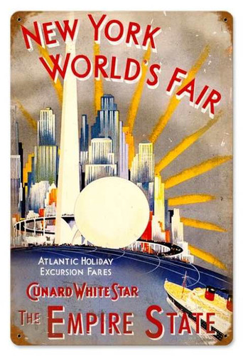 Vintage-Retro New York World Fair Metal-Tin Sign