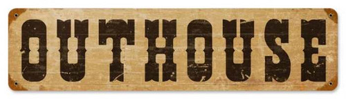 Retro Outhouse Metal Sign 20 x 5 Inches