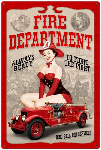 Retro Fire Department Pinup  - Pin-Up Girl Metal Sign 24 x 36 Inches
