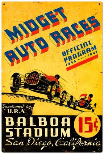 Vintage-Retro Midget Auto Races Metal-Tin Sign LARGE