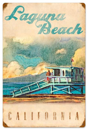 Retro Lifeguard Tower Metal Sign 16 x 24 Inches