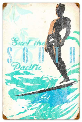 Retro South Pacific Metal Sign 16 x 24 Inches