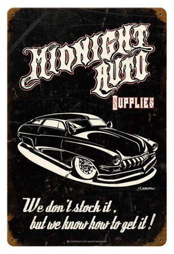 Vintage-Retro Midnight Auto Metal-Tin Sign