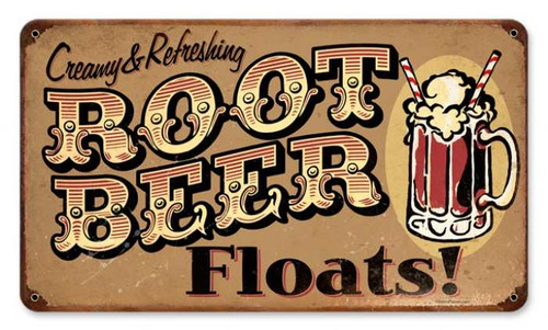 Vintage-Retro Root Beer Floats Metal-Tin Sign