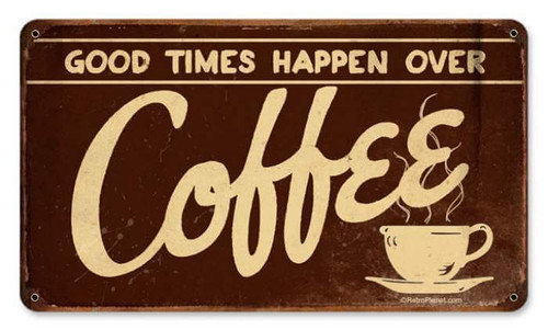 Retro Coffee Metal Sign 14 x 8 Inches