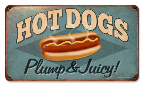 Retro Hot Dogs Metal Sign 14 x 8 Inches