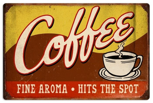 Retro Coffee Metal Sign 24 x 16 Inches