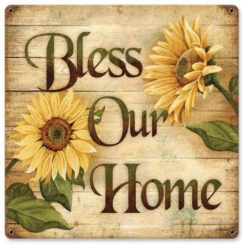 Retro Bless Home Metal Sign 18 x 18 Inches
