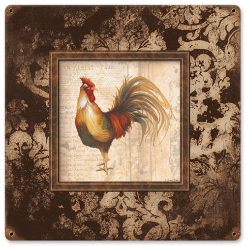 Vintage-Retro Rooster Square Metal-Tin Sign