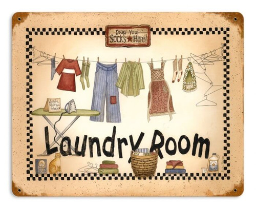 Retro Laundry Room Metal Sign 14 x 11 Inches