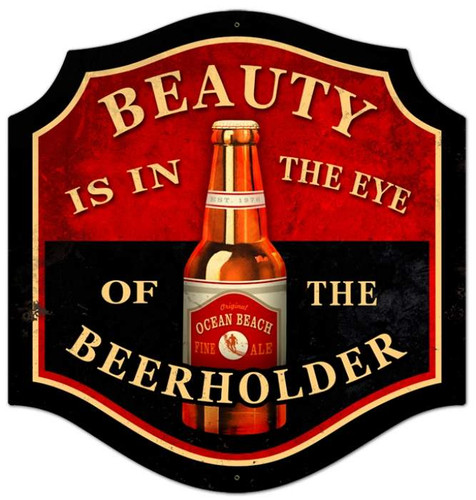 Vintage-Retro Beauty Beer Holder Metal-Tin Sign