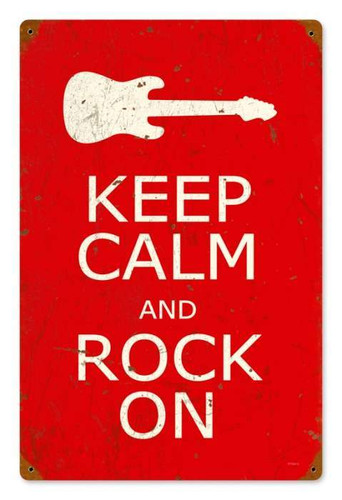 Vintage Keep Calm and Rock On Metal Sign 12 x 18 Inches