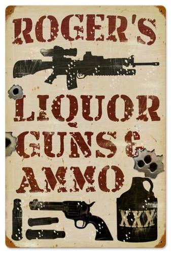 Retro Liquor Guns and Ammo Metal Sign - Personalized 16 x 24 Inches