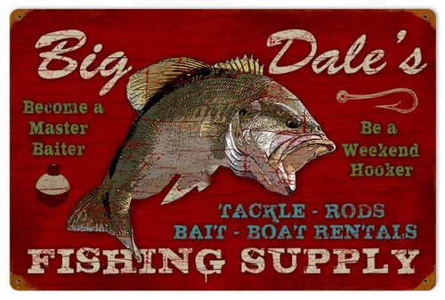 Retro Fishing Supply Metal Sign - Personalized 16 x 24 Inches
