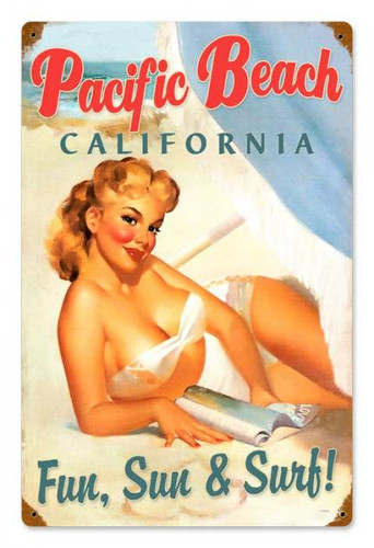 Vintage Pacific Beach Pinup  - Pin-Up Girl Metal Sign 12 x 18 Inches