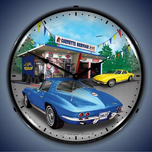 Vintage-Retro  1963 Corvette Lighted Wall Clock