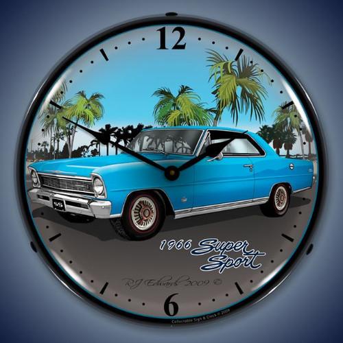 Retro  1966 Nova (blue) Lighted Wall Clock 14 x 14 Inches