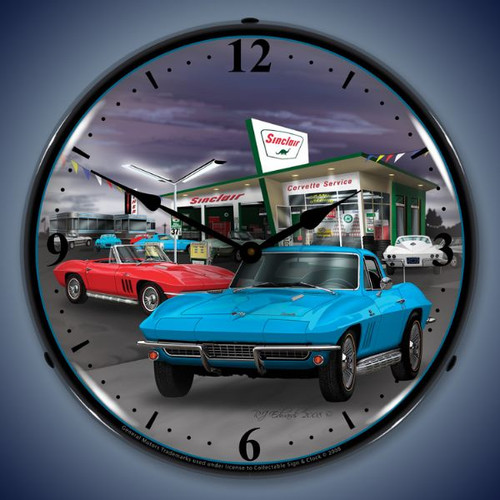 Retro  1966 Sinclair Vette Lighted Wall Clock 14 x 14 Inches