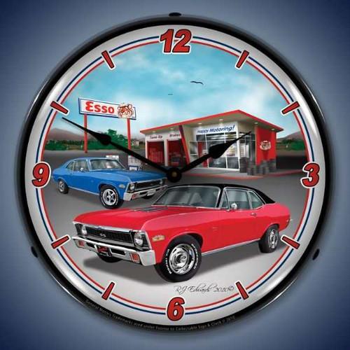 Retro  1970  Nova Lighted Wall Clock  14 x 14 Inches