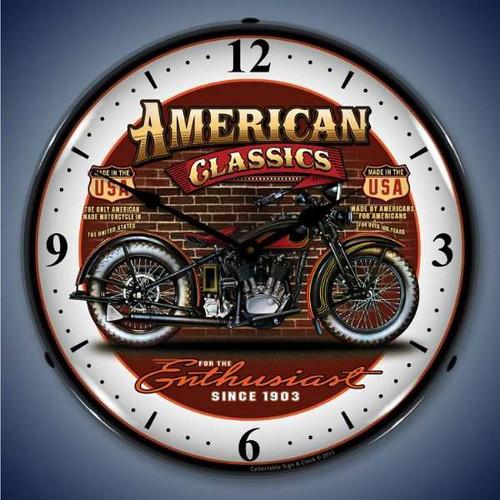Retro  American Classic Bike Lighted Wall Clock 14 x 14 Inches