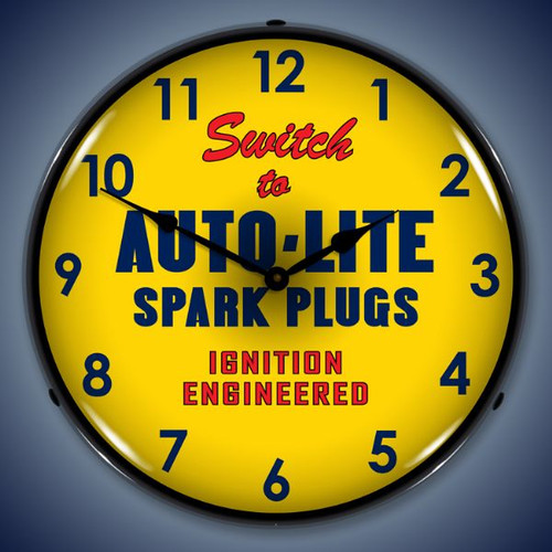Retro  Autolite Lighted Wall Clock 14 x 14 Inches