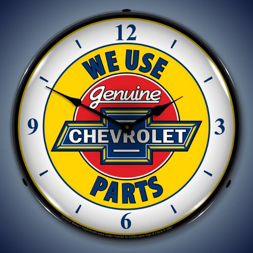 Retro Chevy Parts  W/numbers Lighted Wall Clock 14 x 14 Inches