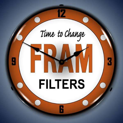 Retro  Fram Filters Lighted Wall Clock 14 x 14 Inches