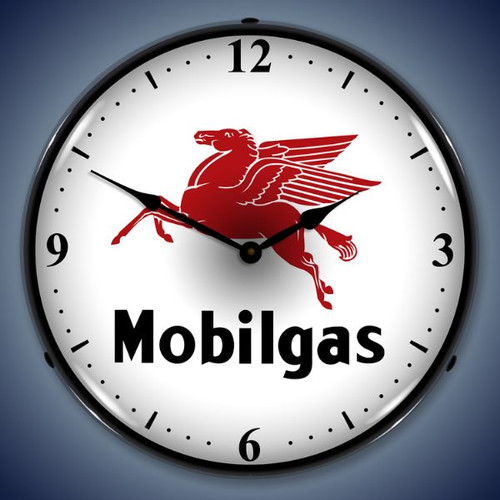 Retro  Mobilgas Lighted Wall Clock 14 x 14 Inches