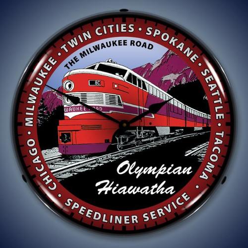 Vintage-Retro  Olympian Hiawatha Train Lighted Wall Clock