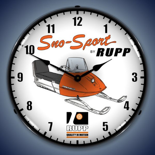 Retro  Rupp Snowmobile Lighted Wall Clock 14 x 14 Inches