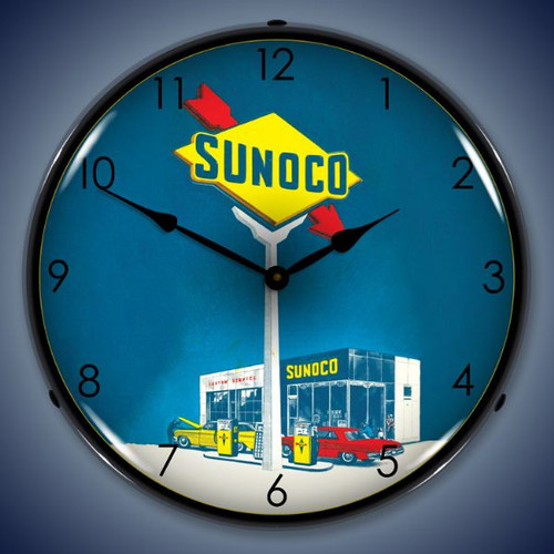 Retro  Sunoco Gas Lighted Wall Clock 14 x 14 Inches