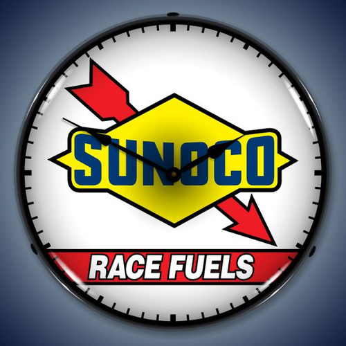 Retro  Sunoco Race Fuel Lighted Wall Clock 14 x 14 Inches