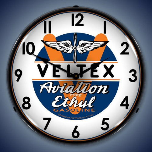 Retro  Veltex Avaition Lighted Wall Clock 14 x 14 Inches