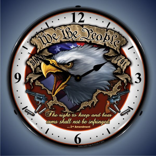 Retro  We the People Lighted Wall Clock 14 x 14 Inches