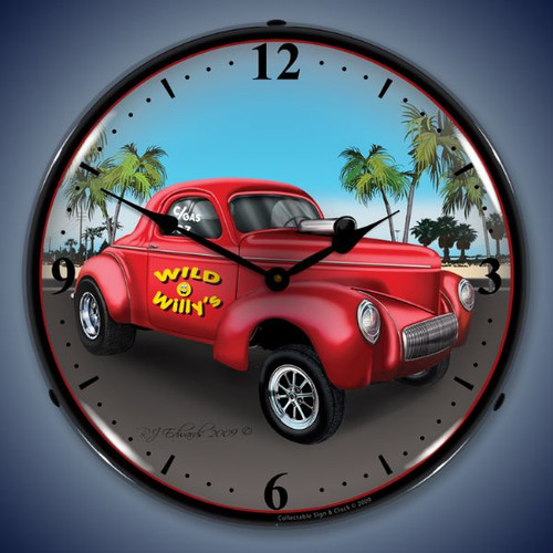 Retro  Willys Gasser Lighted Wall Clock 14 x 14 Inches