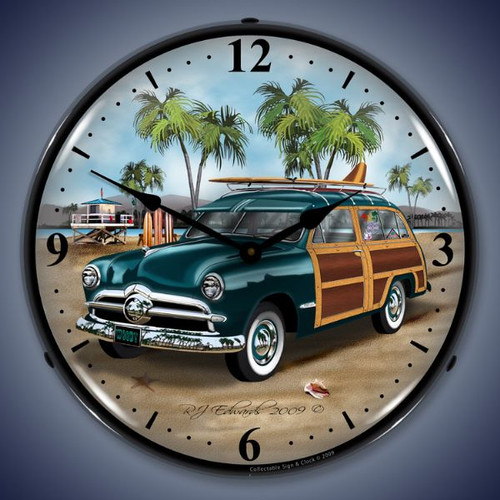 Retro  Woodys Surfer Wagon Lighted Wall Clock 14 x 14 Inches